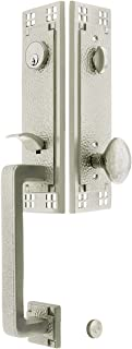 Arts & Crafts Style Tubular Handleset in Satin Nickel with Hammered Egg Knobs and 2 3/8