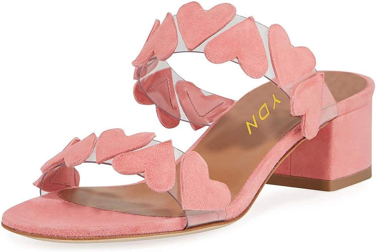 YDN Women Open Toe Heart-Shaped Double Straps Slide Sandals Faux Suede Low Block Heel Walking Dress Slippers