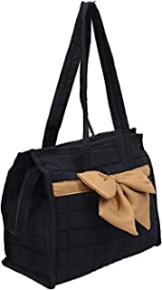 Heart Home Cotton Women Hand Bag (Black) - (CTHH021445)