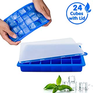 Ice Cube Trays, COPACHI Silicone Ice Tray with Removable Lid, Flexible Stackable 24 Ice Cubes Molds, Easy-Release, for Whiskey, Cocktail, Baby Food, Chocolate, BPA Free