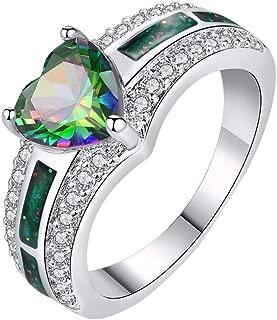 Goddesslili Lucky Heart Ring for Women Girlfriend Couples Rhinestone for Loves Vintage Large Wedding Engagement Anniversary Luxury Jewelry Gift Under 5 Dollars