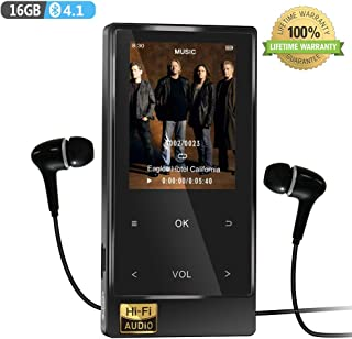 MP3 Player with Bluetooth 4.2, 16GB Hi-Fi Lossless Music Player with FM Radio, Speaker, Voice Recorder, Video Player, Ebook&Picture Reader, Touch-Buttion 2.4'' Screen with Earphone (Big)