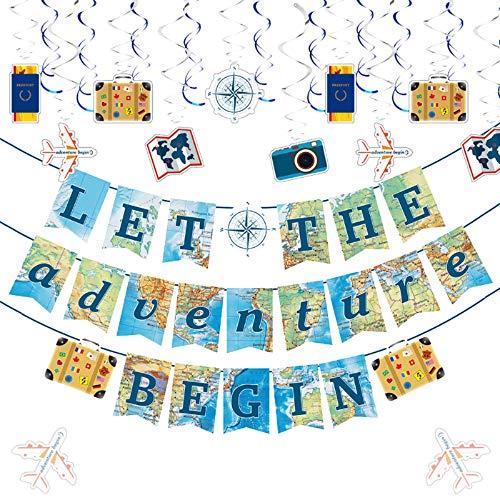JeVenis 9 piezas Let The Adventure Begin Banner de viaje temático Baby Shower Decoración Awaits Banner Bon Voyage Banner para despedida de soltera