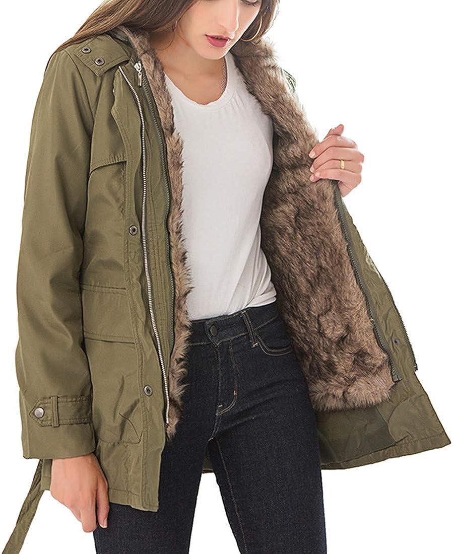 Yollmart Women's Winter Warm Military Coat Hoodie Parkas Faux Fur Outwear Jacket with Belt