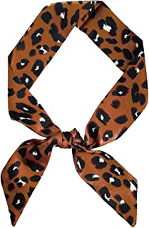 Leopard Neck Tie Chic Skinny Scarf Hairband Stylish Purse Scarf Leopard Accessory