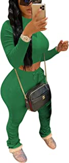 Womens 2 Piece Sports Outfits - Long Sleeve Crop Top + Ruched Long Pants Tracksuit Sweatsuit Set