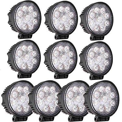 GZYF 10PCS 27W LED Work Light Lamp Bar Round Flood Beam Offroad For Truck Car Boat SUV 4WD UTE ATV 4X4 12V 24V