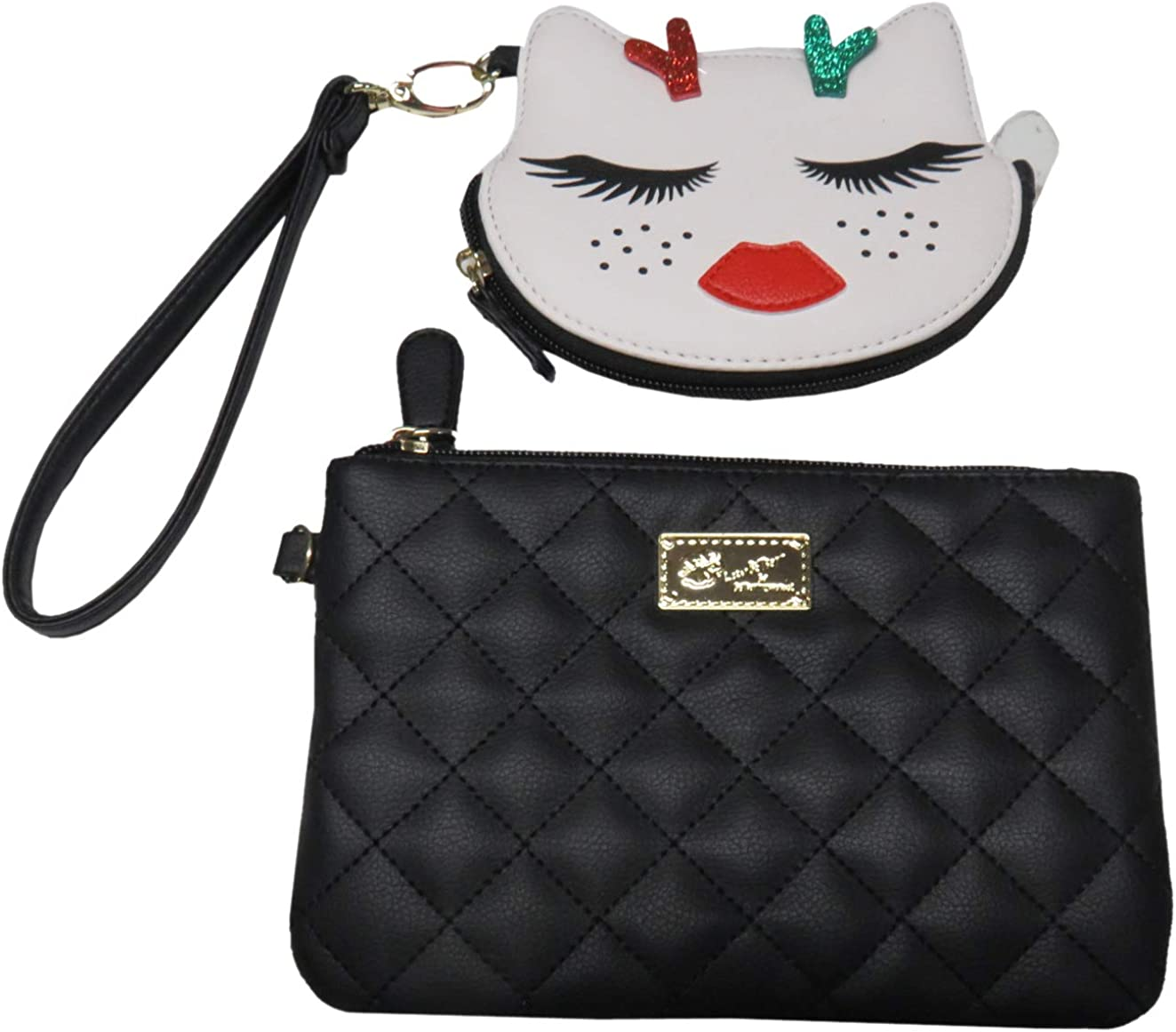Luv Betsey Top Zip Wristlet with Change Purse, Black