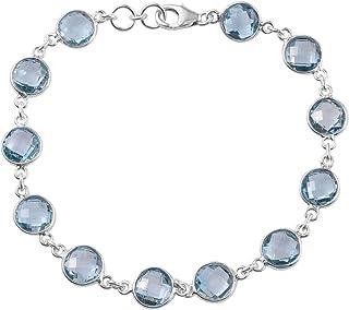 Christmas Gift ! Natural Blue Topaz Gemstone Bracelet Cut & Transparent Stone Boho Bracelet Handmade With Charm Bracelet 9...