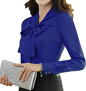 JHVYF Women's Chiffon Long Sleeve Blouse Bow-Tie V Neck Slim Fit Button Down Shirt