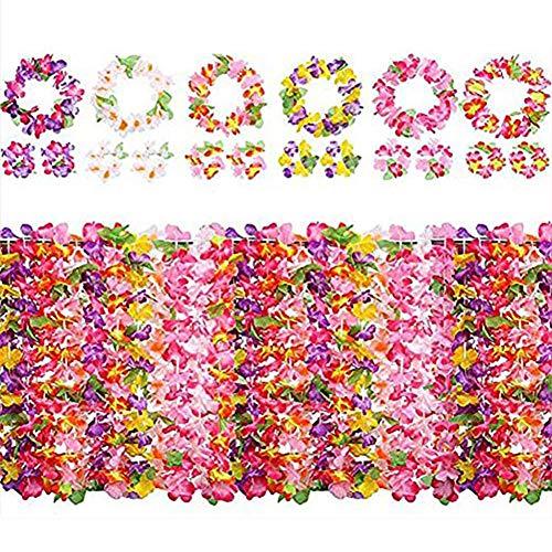 LightKids - Juego de 6 guirnaldas hawaianas, multicolores, 12 pulseras, 6 diademas y 6 collares para la playa hawaiana, fiestas, decoración de picnic y fiesta