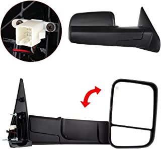 SCITOO Towing Mirrors High Perfitmance Automotive Exterior Mirrors Pair Rear View Mirrors with Power Telescoping Manual Flip up fit 2002-2008 Dodge Ram 1500 Truck