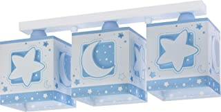 Dalber Moon Light Lámpara Plafón Techo Infantil 3 Luces MoonLight Azul, 60 W