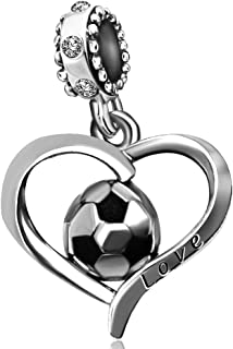 JMQJewelry Heart Football Charms Soccer FIFA World Cup Sport Charm 3Colors Beads Bracelets