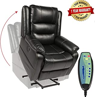 PieDle Electric Power Lift Recliner Chair,Recliners for Elderly, Home Sofa Chairs with Heat & Massage, Remote Control, 3 Positions, 2 Side Pockets and USB Ports (Leather, Black)