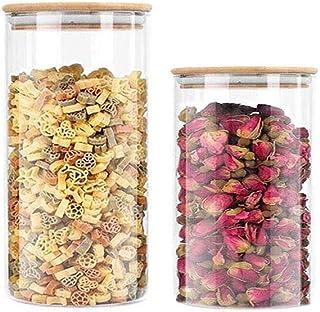 Annfly Lot de 3 bocaux de rangement en verre avec couvercles hermétiques en bambou transparent pour servir le thé, le caf...