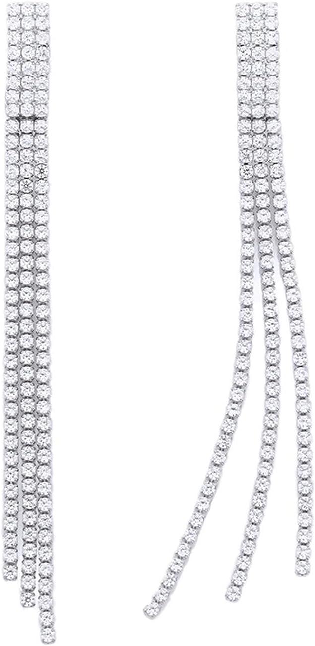 YOQUCOL Boho Tassel Earrings Cubic Zirconia Crystal Long Drop Dangle Bohemian Elegant Fringe Chain Chandelier Pierced Earrings For Ladies