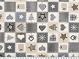 ab 1m: Weihnachtsstoff, Weihnachtsmotive, grau-beige, 140cm