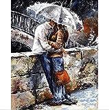 Malen nach Zahlen Kit, Diy Ölgemälde romantische paar Kuss Zeichnung Leinwand mit Pinsel Weihnachten Dekor Dekorationen Geschenke - 16 * 20 Zoll rahmenlose