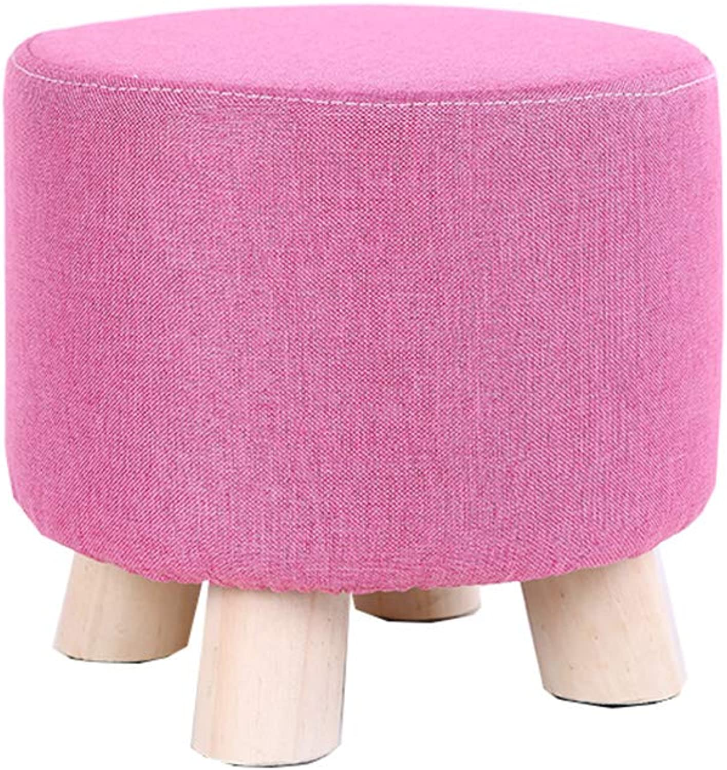 Solid Wood Round Footstool Thick Wood Small Osman shoes Bench Removable Multi-Functional Cloth Cover Economic Pine Legs (28cmx25cm)