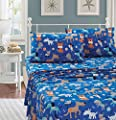 Better Home Style Playing Puppy Blue Kids/Boys/Toddler Sheet with Woof Woof Wagging Dogs Pups and Puppies Includes Pillowcases Flat and Fitted Sheets # Blue Dog