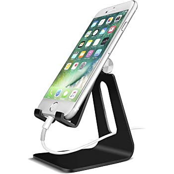 ORIbox Adjustable Cell Phone Stand, 2020 Aluminum Desktop Cellphone Stand with Anti-Slip Base and Convenient Charging Port, Fits All Smart Phones