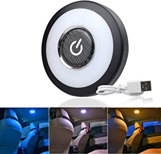 CIIHON Upgraded Rechargeable USB Car Interior Led Reading Lamps Trunk Cargo Area Light, Multi-function Stick on Anywhere Push Night Light for Car, Trunk, Closets, Cabinets,Camping (Blue/Yellow/White)