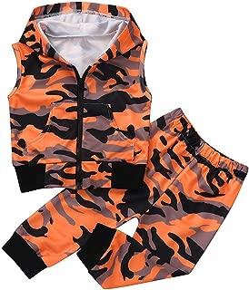 TOPBIGGER 2020 2PCS Newborn Baby Girl Romper Bodysuit Sleeveless Camouflage Hooded Vest Tops+Pants Outfits Set Bodysuit Christmas Jumpsuit Clothes Set 0-24Months