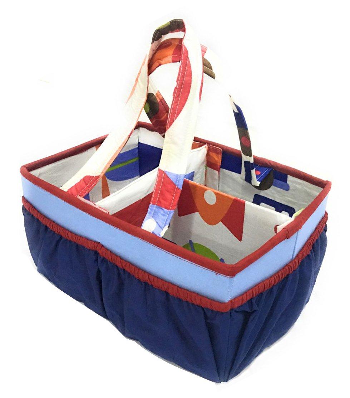 Bacati Transportation Multicolor Nursery Fabric Storage Caddy with Handles, Blue