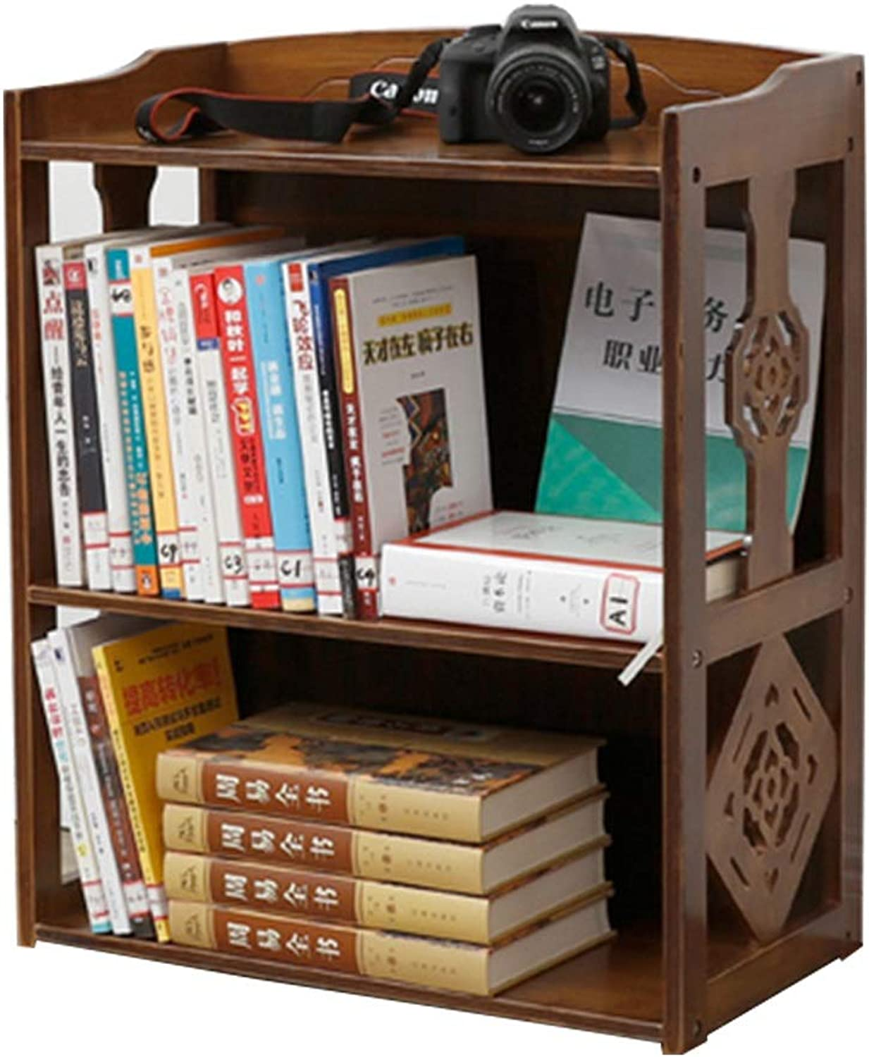 Bookshelves Bamboo Vintage Bookcase Racks Simple Student Bookshelf Living Room Bamboo Simple Bookshelf bookcases Furniture (color   Brown, Size   43x28x70cm)