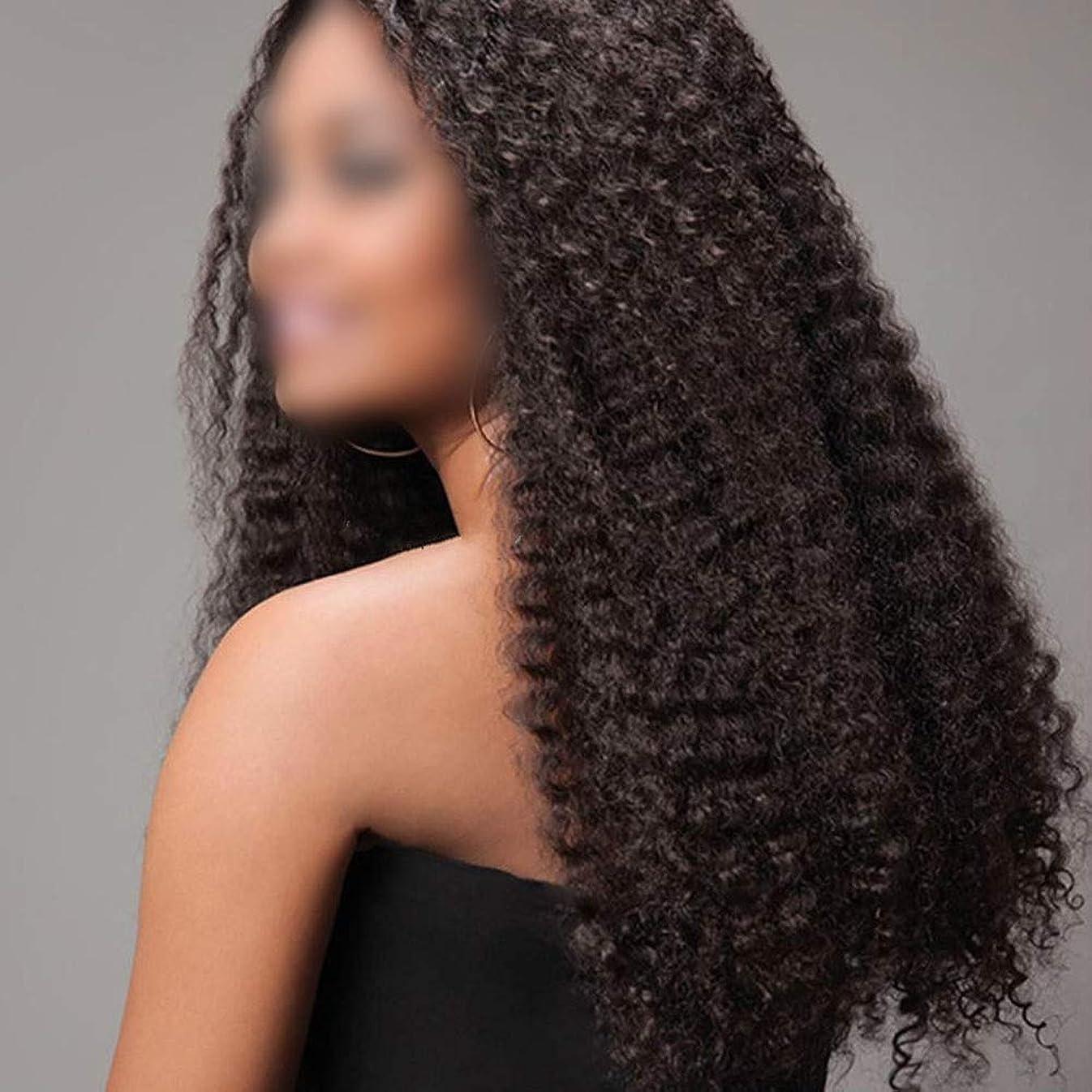 散逸一定踊り子Yrattary 女性ふわふわカーリー爆発的な髪のかつら - ブラジルの深い波小さなロール髪のかつらロングカール髪コスプレパーティーかつら自然な女性の合成かつらレースかつらロールプレイングかつら (色 : 黒, サイズ : 20inch)