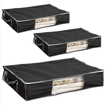 圧縮プラス ふとん圧縮袋 収納ケース ブラック 3個セット 布団一式用 幅100×奥行70×高さ20cm