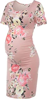 Musidora Maternity Summer Dress Ruched Sides Bodycon Dress for Baby Shower or Daily Life
