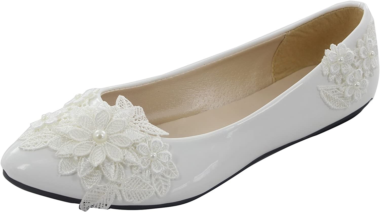 MSMAX White PU Leather Lace Wedding Flat shoes for Women,10M