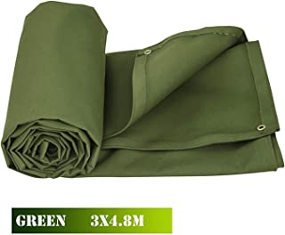 Bkisy 10ft x 16ft Olive Drab Canvas Tarp Heavy Duty 18 oz Cotton Material Tarpaulin Tarp Water Resistant and Breathable for All Purpose