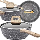 Lightning Deals Nonstick Stone-Derived Cookware Set, Induction Cooking Pots and Pans Set, Soft Touch...