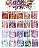 ANDERK Set di Polvere Glitter per Unghie, Glitter Cosmetici Lustrini 3D Brillantini Decorazioni per Ombretto,Trucco, Nail Art, 20 colori assortiti