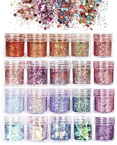 ANDERK Olografica Brillantini per Unghie Polvere Glitter per Unghie, 20 Colori Chunky Glitter Unghie per il Corpo, a Forme per Unghie Art Decorazioni Trucco del Viso...