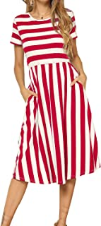 Women's Casual Short Sleeve Striped Swing Midi Dress with Pockets