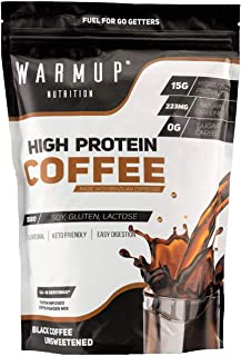 WarmUp All Natural High Protein Coffee Powder | Made Iced, Hot, Or Blended | Shake, Smoothie, Latte Or Frappe Powder | Non GMO Espresso Caffeine + Hydrolyzed Whey Protein Isolate | Natural Pre Workout