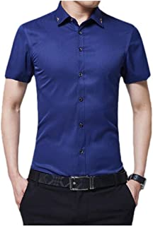 Energy Men's Bussiness Lapel Collar Short-Sleeve Solid Color Silm Fit Dress Shirt