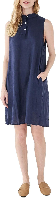 Amazhiyu Womens Linen Sleeveless Dresses Mock Neck with Pockets Midi Summer Tank Dresses
