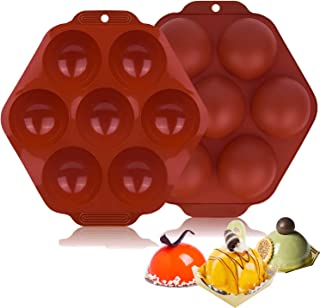 Geahod Silicone Molds, 7 Holes Semi Sphere Baking Mold 2 Pack, Round Chocolate Mold for Making Cake, Chocolate, Dome Mouss...