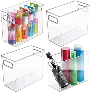 mDesign Slim Plastic Storage Container Bin with Handles - Bathroom Cabinet Organizer for Toiletries, Makeup, Shampoo, Conditioner, Face Scrubbers, Loofahs, Bath Salts - 5