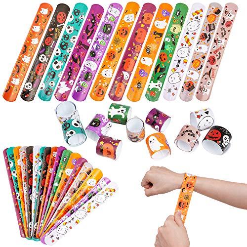 FINGOOO Halloween Slap Bracelets, 48 pieces Snap Bands Party Bag Filler For Kid