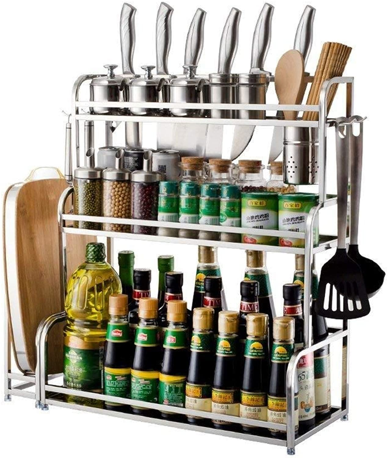 304 Stainless Steel Kitchen Rack Spice Rack 3 Layer Multi-Functional Floor Knife Rack Soy Sauce Vinegar Bottle Storage Rack ZXMDMZ (Size   Small)