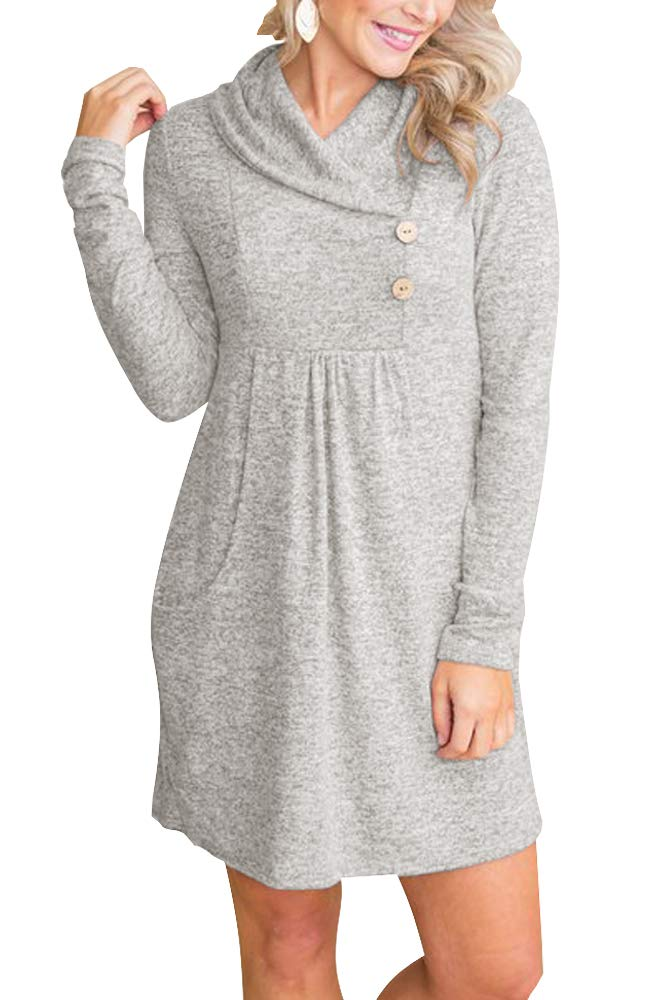 Sweater Dress - Women's Long Sleeve Scoop Neck Button Side Sweater Tunic Dress