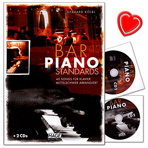 Bar Piano Standards - 40 Songs für Klavier mittelschwer arrangiert - Notenbuch von Gerhard Kölbl - mit 2 CDs und bunter herzförmiger Notenklammer - HAGE Musikverlag - EH3703-9783866260764