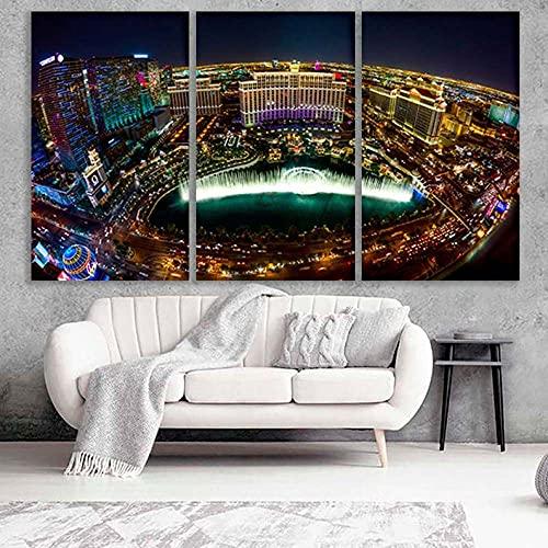 Gyybfhn Cuadro sobre Lienzo 3 Piezas Moderno Lienzo Pintura Decorativa Chica Habitación Pared Arte Cartel Moderno Decoración Hogar Lienzo Modular Pictur 50Cmx70Cmx3(Marco) Las Vegas Las Vegas