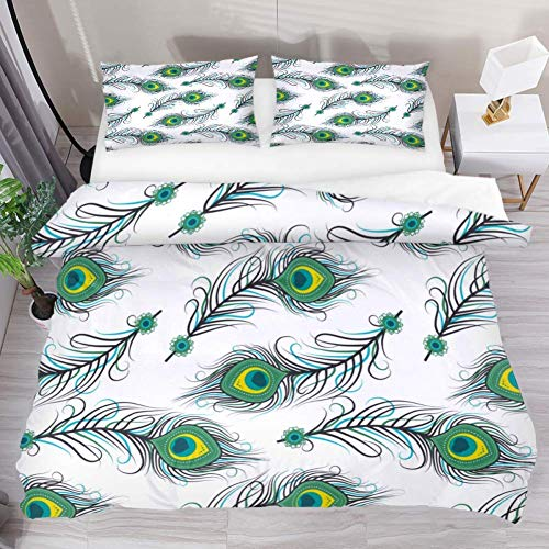 Royal Legacy Green Feather 3 Piece Bedding Bedding Sheets Cover Set with 2 Pillow Cases Shams with Zipper Closure for Kids Teen Boys Girls